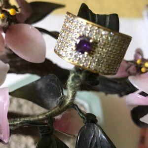 Vintage 925 amethyst & topaz ring